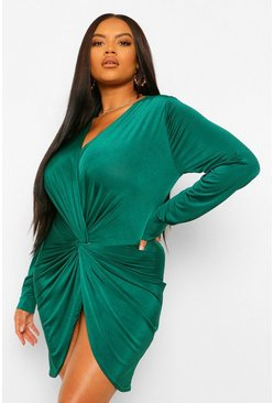 Plus Twist Front Plunge Mini Dress, Emerald vert