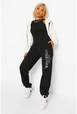 Black  Petite Ye Saint West Slogan Jogger