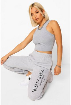 Grey marl  Petite Ye Saint West Slogan Jogger