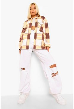 Tan brown Petite Check Oversized Shacket