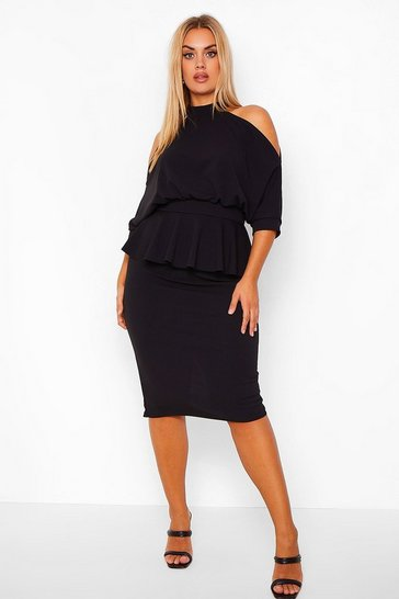 Black Plus Open Shoulder Peplum Midi Dress