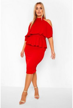 Red Plus Open Shoulder Peplum Midi Dress