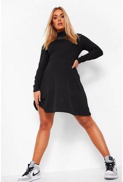 Black Plus High Neck Mesh Skater Dress
