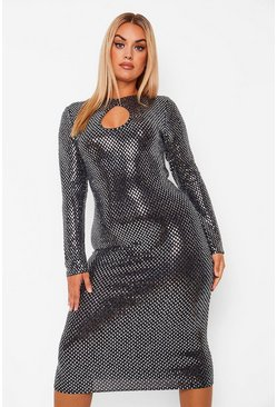 Silver Plus Sequin Cut Out Midi Dress