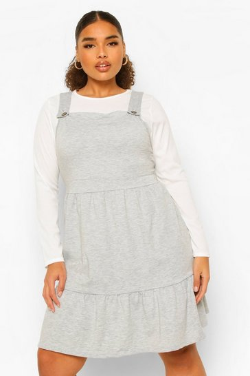 Grey Plus Tiered Smock Pinafore Dress