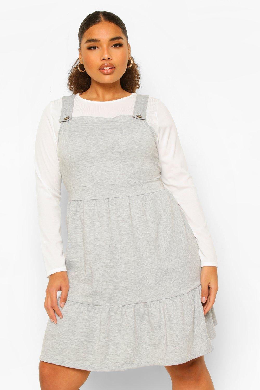 Plus Tiered Smock Pinafore Dress 19