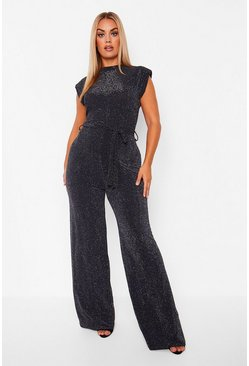 Black Plus Glitter Shoulder Pad Jumpsuit
