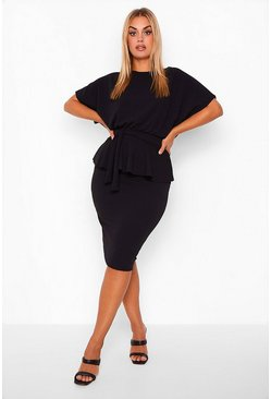 Black Plus Slash Neck Peplum Dress