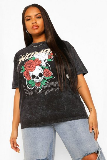 Charcoal grey Plus Woman Floral Skull Acid Wash T-shirt