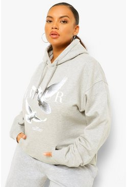 Grey marl grey Plus Amour Doves Boyfriend Hoody