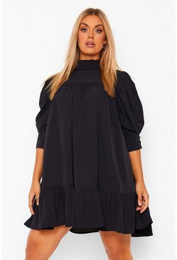 Black Plus High Neck Puff Sleeve Smock Dress