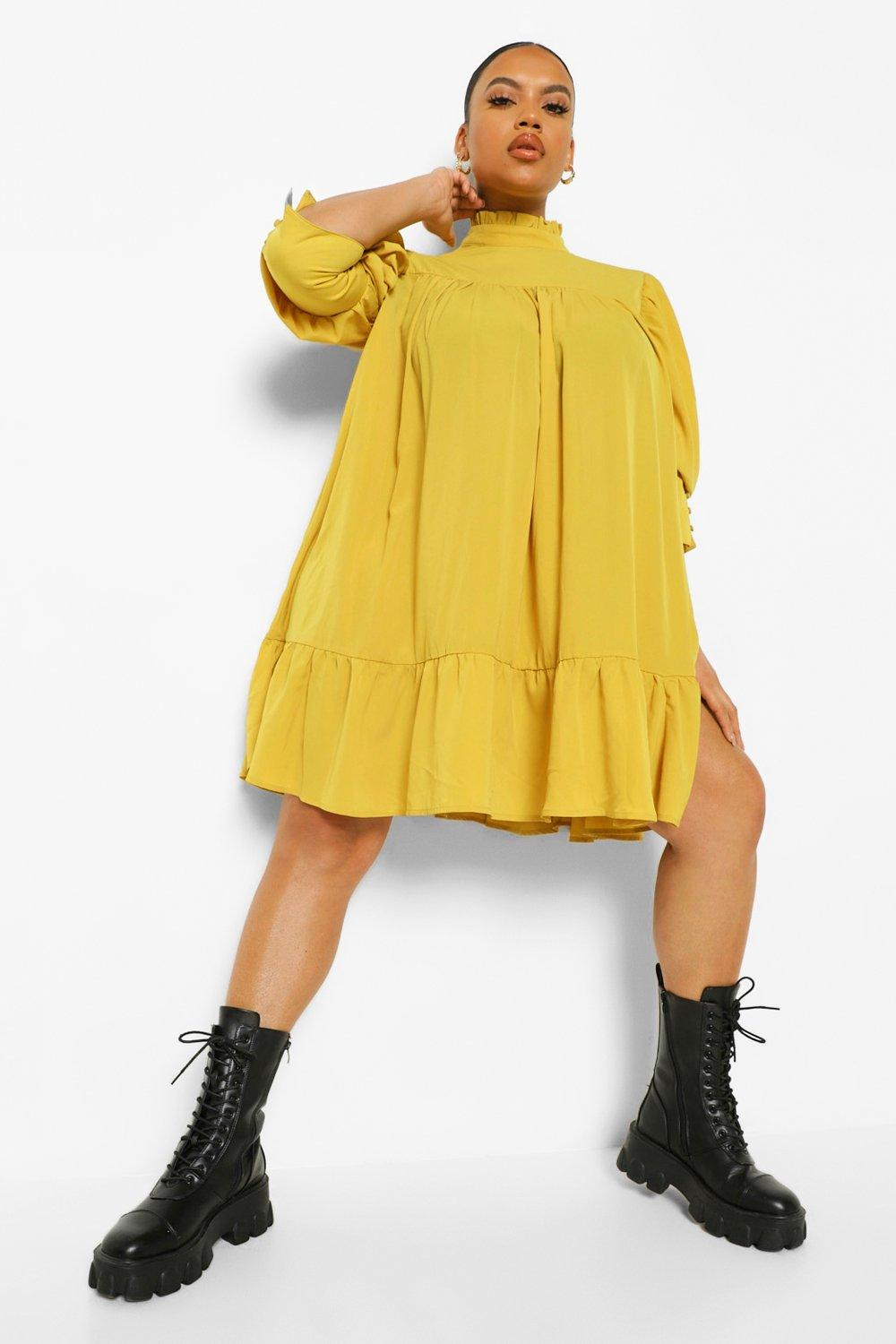 Plus High Neck Puff Sleeve Smock Dress 13