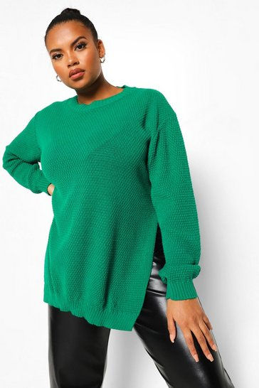 Bright green green Plus Side Split Moss Stitch Jumper