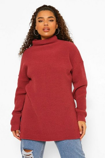 Berry red Plus Roll Neck Side Split Jumper