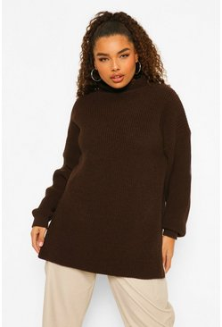 Chocolate brown Plus Roll Neck Side Split Jumper