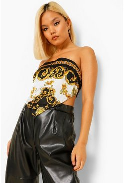 Black Petite Satin Scarf Print Crop Top