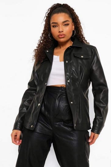 Black Plus Western Leather Look Jacket