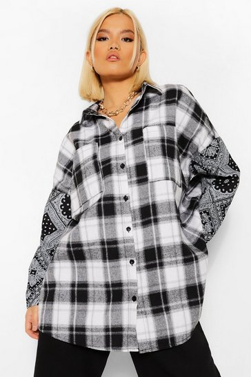 Black Petite Bandana & Check Print Oversized Shirt