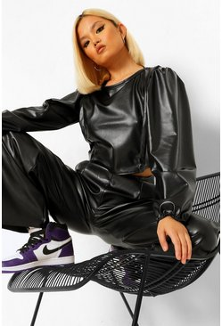 Black Petite Pu Balloon Sleeve Leather Look Crop Top