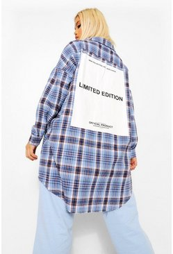 Blue Petite Oversized Limited Edition Back Print Shirt