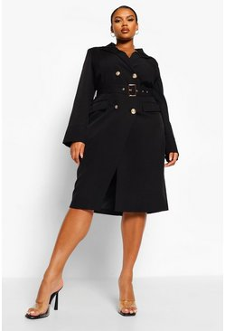 Black Plus Belted Wrap Blazer Dress