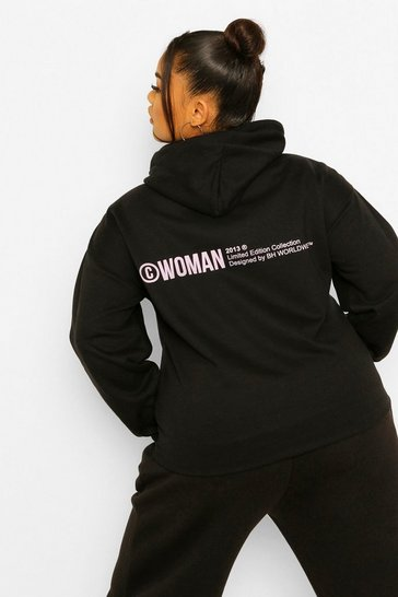 Black Plus Woman Back Print Hoody