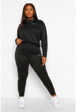 Black Plus Woman Pocket Print Tracksuit
