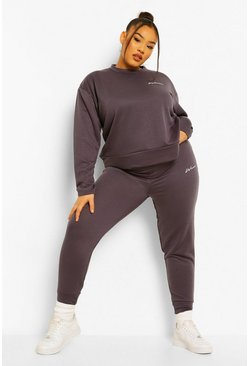 Charcoal Plus Woman Pocket Print Tracksuit