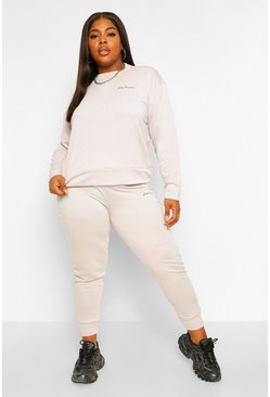 Ecru white Plus Woman Pocket Print Tracksuit