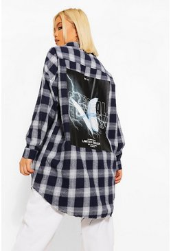 Black Petite Oversized Butterfly Back Print Check Shirt