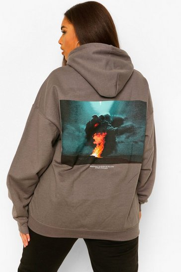 Charcoal grey Plus Graphic Back Print Hoody