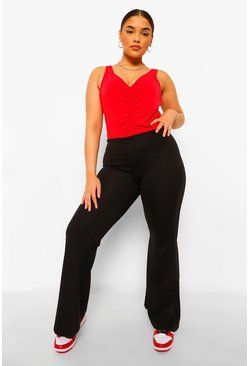 Black Plus Seam Front Stretch Flare Trouser