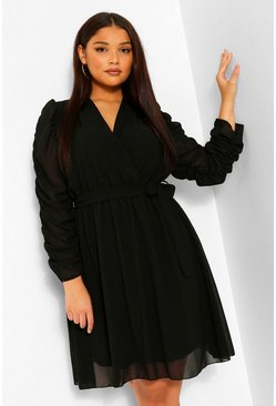 Black Plus Ruched Sleeve Wrap Skater Dress