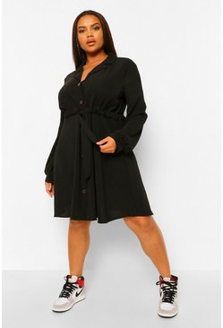Black Plus Belted Reverse Collar Shift Dress