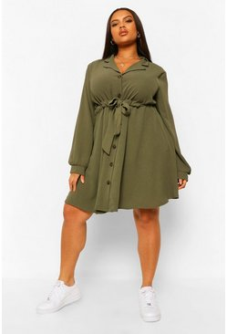Khaki Plus Belted Reverse Collar Shift Dress