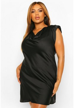 Black Plus Satin Shoulder Pad Shift Dress