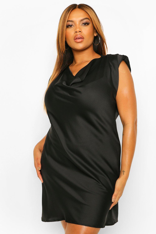 Plus Size Dresses Plus Satin Shoulder Pad Shift Dress