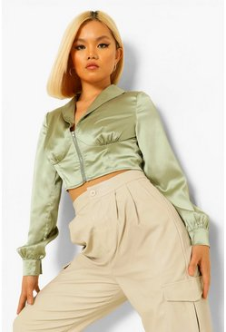 Light khaki khaki Petite Satijnen Crop Top Met Rits