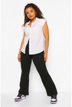 Black Plus Cross Waistband Flare Stretch Trouser