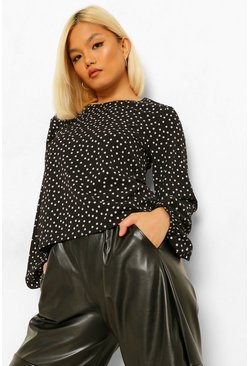Black Petite Polka Dot Woven Smock Top