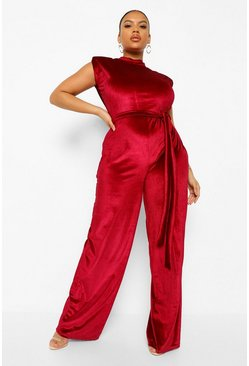 Berry Plus Velvet Shoulder Pad Jumpsuit