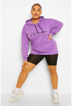 Plus Woman Hoody And Cycling Short Co-ord, Lilac morado