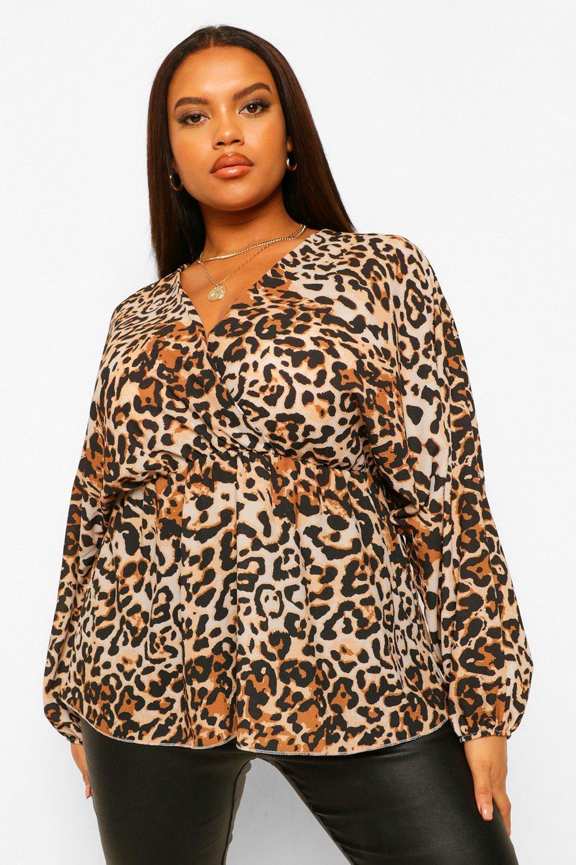 Plus Wrap Belted Leopard Peplum Top 17