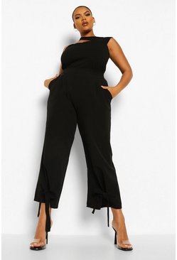 Black Plus Ankle Tie Formal Trousers