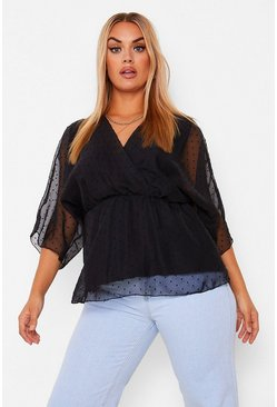 Black Plus Dobby Mesh Wrap Belted Peplum Top