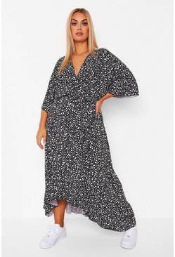 Black Plus Dalmatian Wrap Belted Midi Dress