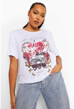 White Plus Shoulderpad Love Band T-shirt