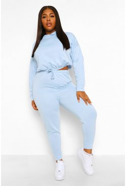 Baby blue blue Plus Gathered Waist Hoody Tracksuit