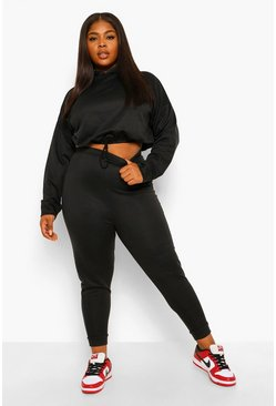 Black Plus Gathered Waist Hoody Tracksuit