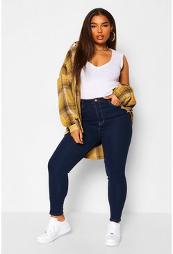 Mid blue blue Plus Skinny Fit Jeans